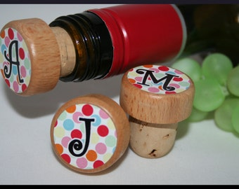 Monogram Wine Stoppers, Personalized Wine Stopper, Wedding Wine Stopper, Bridesmaid Wine Stopper-With Your Letter of Choice-Thank You Favors