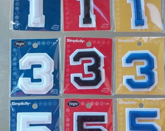 DESTASH, Lot of Numbers, 3 Embroidered Numbers, Appliques, Primary Numbers,