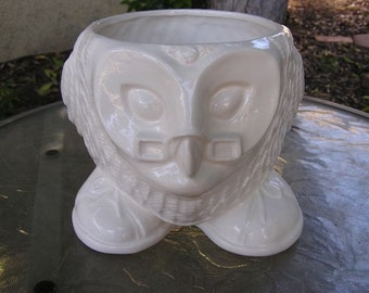 Glazed Professor Barn Owl Planter/Desk Vase/Candy Dish