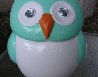 Jeweled Eye Mint Owl Cookie Jar