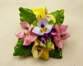 Hand Crafted Brooch Vintage Porcelain Flower, Adderley Floral China, Colorful Bouquet Pansy Flowers, Wedding Gift, Estate Costume Jewelry