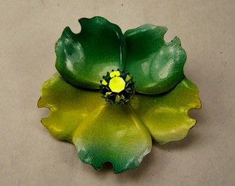 Vintage 1960's 70's Green Flower Brooch w Aurora Borialis Rhinestone, Tye Dyed Lime Yellow Enamel Pin, Estate Jewelry, Statement Piece Gift