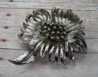 Vintage Silver Tone Flower Brooch Pin, 1970's Retro Estate Costume Jewelry, Bridal, Wedding Bouquet Jewelry