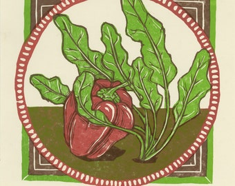 Spinach Loves Pepper Woodcut Print