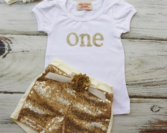 1st Birthday Outfit- Baby Girls Birthday Clothes- Cake Smashing Outfit- ONE Gold shirt and Sequin Shorts- Glitter Gold Birthday Shirt