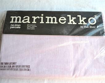 Vintage Marimekko Bed Sheet - Pink Combed Stripe - Twin Flat NOS