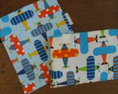 Organic cotton reusable sandwich and/or snack bags - Children lunch bags -Airplanes, blue or white