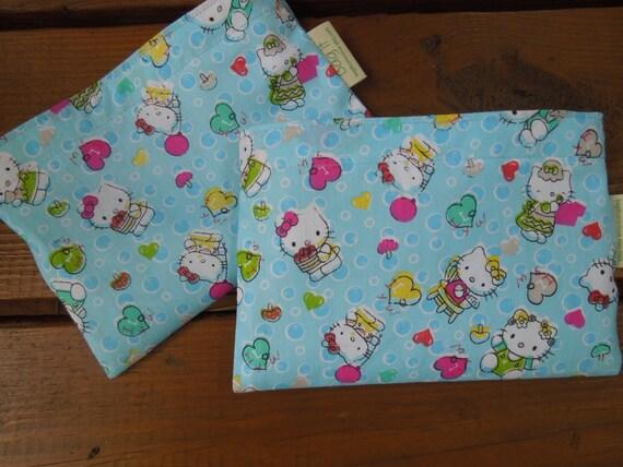 ON SALE - Reusable snack bag - Fabric snack bag - Eco-friendly snack bag - Reusable sandwich bag - Girly sandwich bag  - Hello Kitty