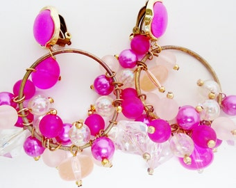 Vintage Valentine Pink Cha Cha Clustered Bead Hoop Earring Dangles 60's Bright Pinks AB Crystal Gift Retro Runway Statement