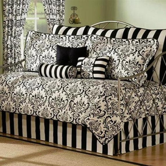 Black And White Striped Bed Skirt 94