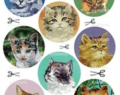 Digital Download Vintage Paint By Number Cat Heads - pbn cat portraits