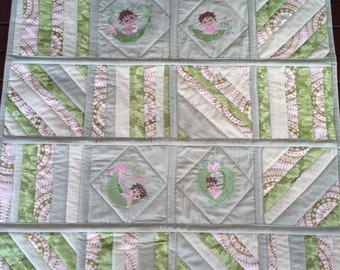 Embroidered Pea Pod Baby Girls Mint Green Baby Quilt