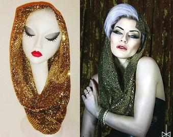 Dark gold shiny sequin snood hood scarf Gaga FESTIVAL FASHION