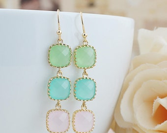 Mint, Pink and light green Glass Pastel color Dangle Earrings Drop Earrings Wedding Bridesmaid Earrings Bridesmaid Jewelry Bridesmaid Gifts