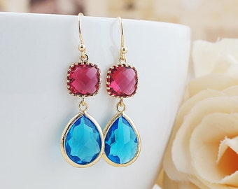 Red Ruby and Blue Zircon Glass dangle earrings drop earrings Lemon Wedding Jewelry Bridesmaid Earrings Bridesmaid gifts Bridesmaid jewelry