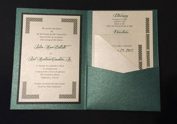 Irish Green Celtic Wedding Invitation - A7 Pocket Folded
