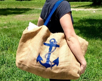 Extra Large Nautical Anchor Burlap Beach Bag - Handmade