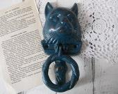 cat door knocker door decor shabby decor rustic blue green cat outdoor decor cat lover decor cast iron