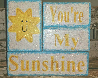 You're My Sunshine 4 piece Wood Block Set With Glitter