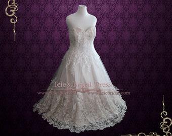 Strapless Light Champagne Lace Wedding Dress | Plus Size Lace Wedding Dress | Margaret