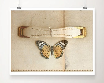 I Heart Vintage Fine Art Print--Warm Vintage Inspired Apartment Home Decor Butterfly Suitcase Wholesale
