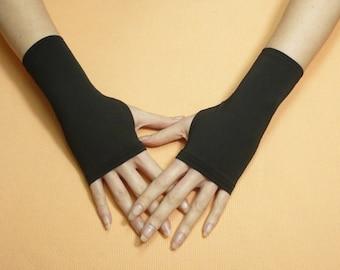 Short Black Fingerless Gloves Thin Rockabilly Armwarmers Biking Running Mittens Skater Arm warmers Cyber Gothic Boho Palm covers Armstulpen