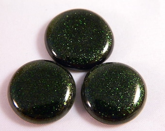 Adventurine Fused Glass Cabochons, Set of 3, Perfect for earrings and necklace