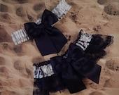 Snow Camo Camouflage Black Ribbon double Layers Black Lace Bridal Wedding Garter Set Toss