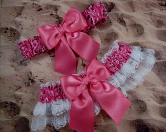 Hot Pink Fuchsia Bandana Pink Ribbon White Lace Wedding Garter Toss Set