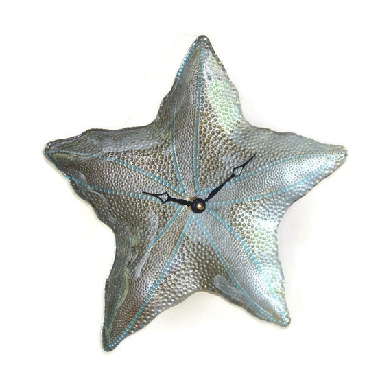 Gold Starfish Wall Decor : New starfish wall clock silver and gold