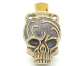 Skull Bottle Pendant, Raku  Clay Pendant, Perfume Bottle, Skull Urn -R197