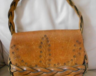 Brown Hand Tooled Leather Purse / Distressed Leather Bag