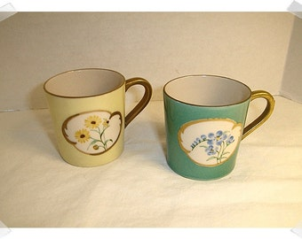 Porcelain Hand Painted Tea Cups/ Small Size/Single OR Set/Vintage*