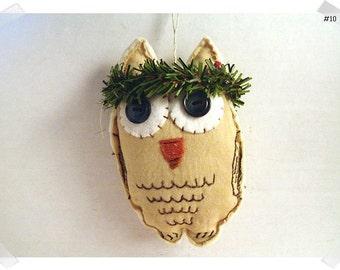 Wise Old Muslin Owl Ornament/Muslin Fabric/ #10/ Handmade**