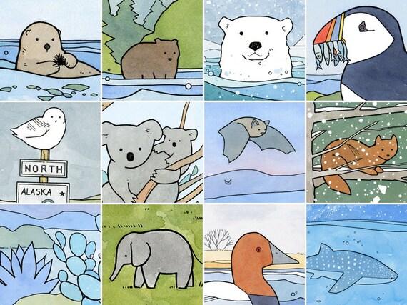 Custom illustration, 5x7 whimsical watercolor animal art