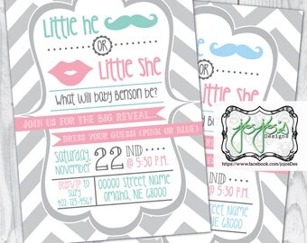 Chevron Gender Reveal Party Invitation, Mustache and Lips, Little He or Little She, Pink Green Blue Gray White (Digital File)