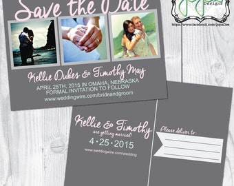 Modern, Simple 3 Photo, Pink, Mint & Gray Save the Date Postcard (Digital File)