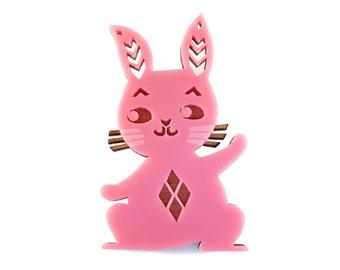 Pink Michi Bunny Brooch