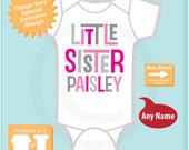 Girl's Personalized Little Sister Onesie or Tee Shirt with Pink and Grey Text (07152015b)