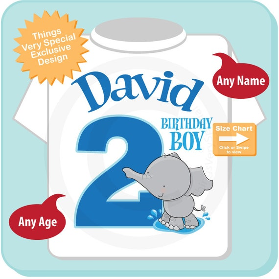 Personalized Second Birthday Elephant Tee Shirt or Onesie, 2nd Birthday Elephant tee, Safari Theme, Any Age (07172012f)