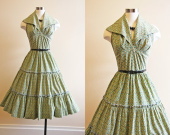 50s Dress - Vintage 1950s Dress - Black Floral Halter Cotton Full Skirt Garden Party Sundress L - Tender Trap