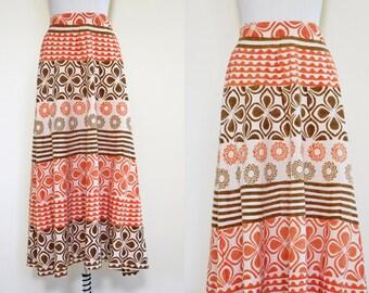 Vintage 1960s Indian Cotton Block Print Skirt - 1960s Pumpkin Cocoa Tribal India Maxi Skirt - Wheel of the Sun