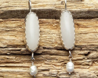 Rose Quartz Dangle Earrings with Pearl Accents in Sterling Silver