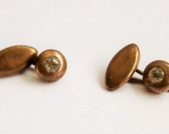 Edwardian Cuff Links.  Brass & Paste.  Vintage Cuff Links.