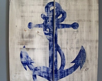 Distressed Anchor Wooden Wall Hanging