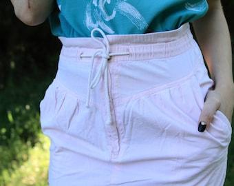 SAY ANYTHING - 1980s 80s Cotton High Waisted Pencil Skirt Pastel Pink Retro Funky Jetta Drawstring Beachy Boho Babe Small Medium