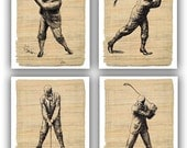 Retro golf prints, Golf art, Golf decor, gift for him, fathers day, golfers, golf party, golfing clubs tees golf, Set of 4 print