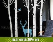 Removable White Winter Birch Tree Wall decal Buck Deer wall decals wall sticker