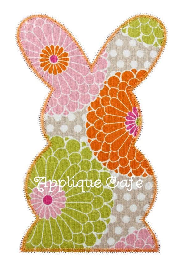 Zig zag bunny machine embroidery applique design