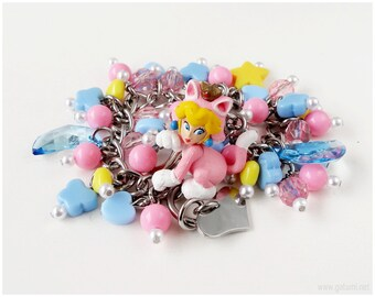 Princess Peach Charm Bracelet, Gifts For Gamers, Fairy Kei, Kawaii Jewelry